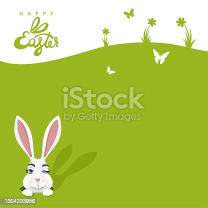 Easter egg hunt. Easter bunny card.