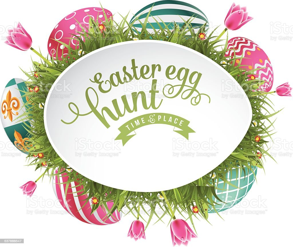 Easter Egg Hunt Frame With Grass And Tulips Stock Vector Art & More ...