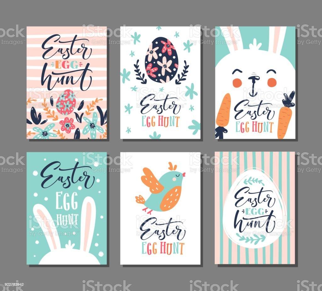 Ilustración de Invitación De La Caza Del Huevo De Pascua Conjunto De ...