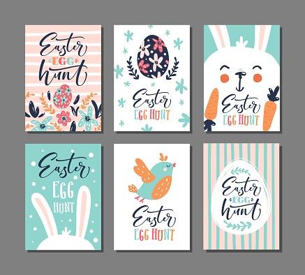 easter egg hunt invitation. Set of 6 postcard templates.