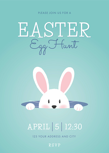 Easter Egg Hunt invitation template with easter bunny.