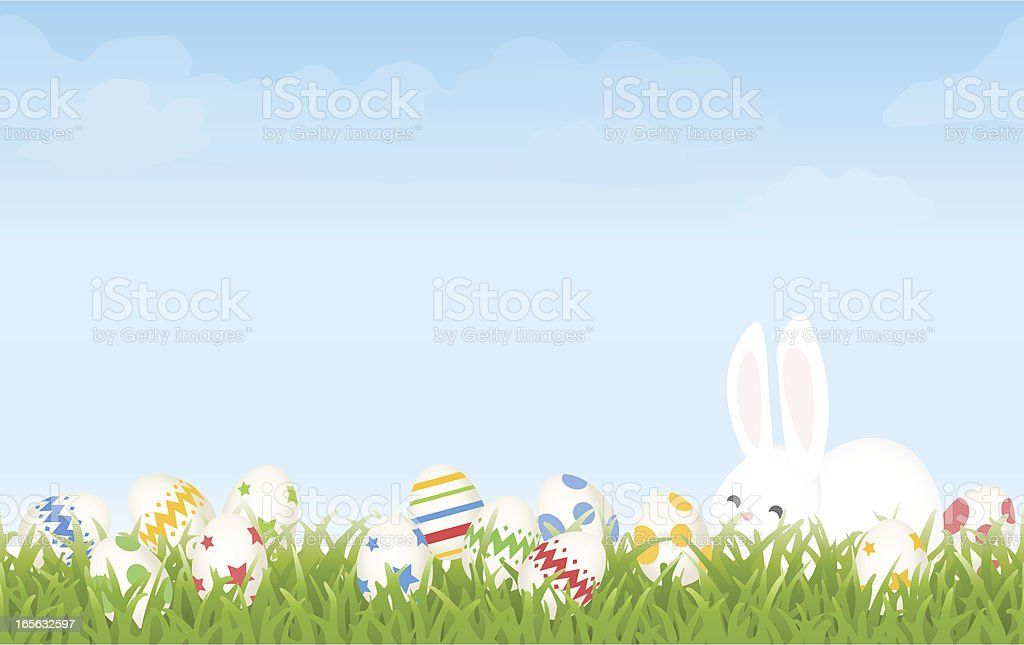 easter egg hunt morning with cartoon bunny and eggs background royalty free easter egg hunt