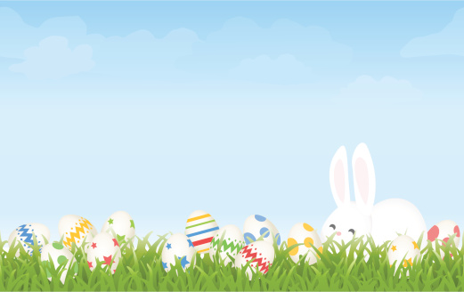 Easter Egg Hunt Morning with Cartoon Bunny and Eggs Background