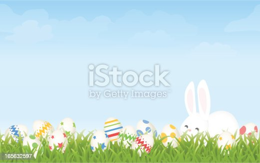 istock Easter Egg Hunt Morning with Cartoon Bunny and Eggs Background 165632597