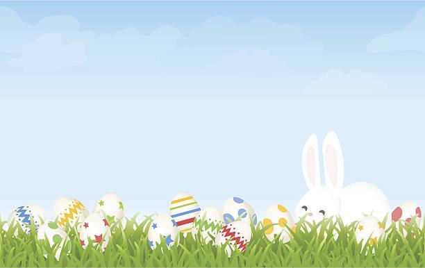easter egg hunt morgen mit cartoon hase und eier hintergrund - hase stock-grafiken, -clipart, -cartoons und -symbole