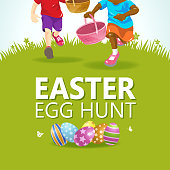 An invitation to the Easter egg hunt party for kids at the grassland