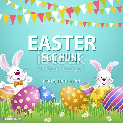 An invitation to the Easter egg hunt party with bunnies at the grassland