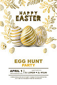 Easter egg hunt party vector poster design template. Concept for banner, flyer, invitation, greeting card, backgrounds.