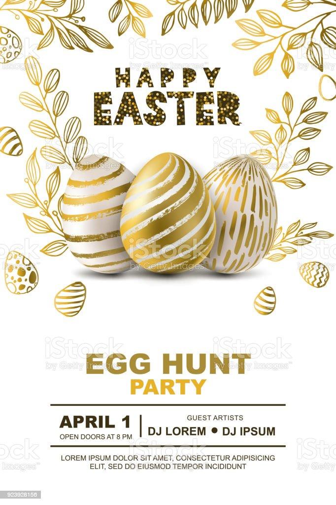 Easter egg hunt modèle de conception partie vector affiche. Concept pour la bannière, flyer, invitation, carte de voeux, arrière-plans. - Illustration vectorielle