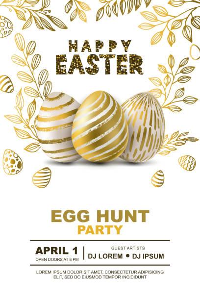easter egg hunt party vector poster design template. concept for banner, flyer, invitation, greeting card, backgrounds. - easter stock illustrations