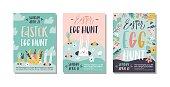 Easter egg hunt poster or invitation template. Vector illustration.