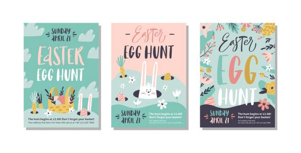 Easter egg hunt poster or invitation template. Vector illustration. Easter egg hunt poster or invitation template. Vector illustration. easter stock illustrations