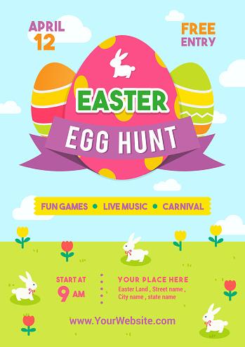 Easter egg hunt poster vector illustration. Colorful Easter egg with rabbits in spring meadow. flyer design
