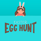 Easter egg hunt. Cute little girl in bunny ears holding blank advertising banner with hand drawn lettering. Greeting card.