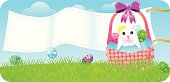 A cute little bunny inside the basket with Easter eggs.