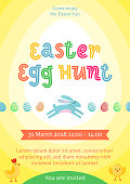 Easter egg hunt vector poster with jumping Easter banny and colored ornate egg on yellow gradient background. Funny cartoon invitation party poster, banner, flyer for Easter joy fun family celebration