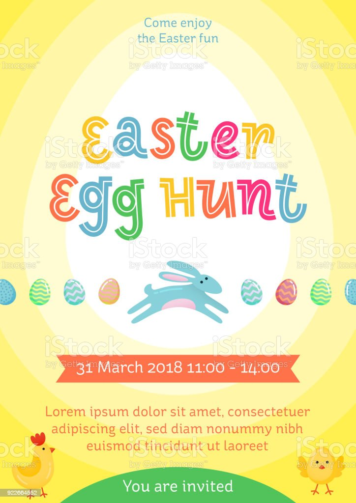 Easter egg hunt vector poster with jumping Easter banny and colored ornate egg on yellow gradient background. Funny cartoon invitation party poster, banner, flyer for Easter joy fun family celebration vector art illustration