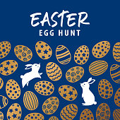Join the Easter Egg Hunt Party with symbol of bunnies and gold colored eggs pattern on blue background