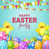 An invitation to the Easter egg hunt party with chicks among group of colorful Easter eggs