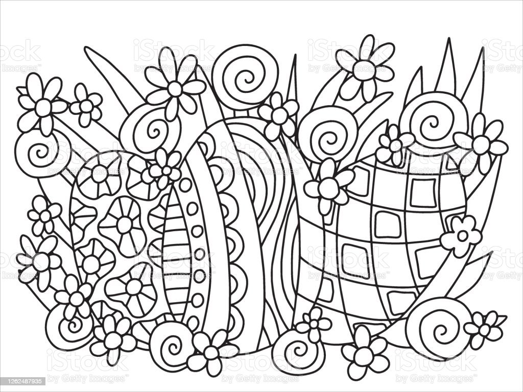 Easter Egg Hunting Coloring Page For Kids Vector Stock Illustration    Download Image Now