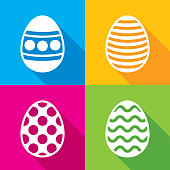Vector illustration of a set of multi-colored easter egg icons in flat style.