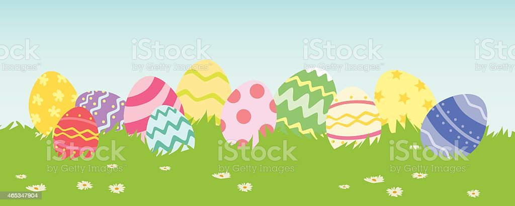 Easter Egg in a Row vector art illustration