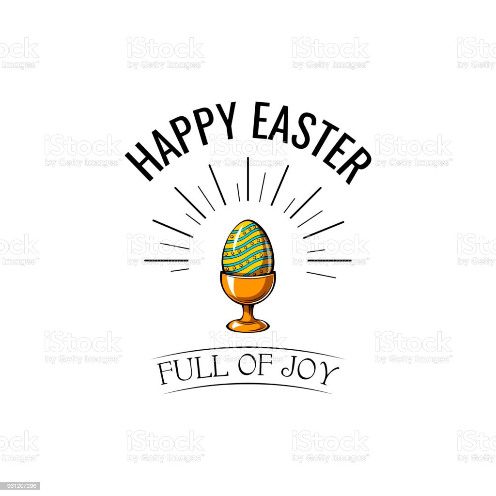 Easter egg in stand icon. Easter greeting card. Vector illustration. vector art illustration
