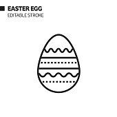 Easter Egg Line Icon, Outline Vector Symbol Illustration. Pixel Perfect, Editable Stroke.