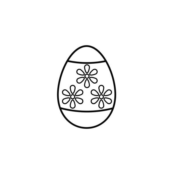 Icono de la línea de huevo de Pascua, elementos de vacaciones de la religión, - ilustración de arte vectorial