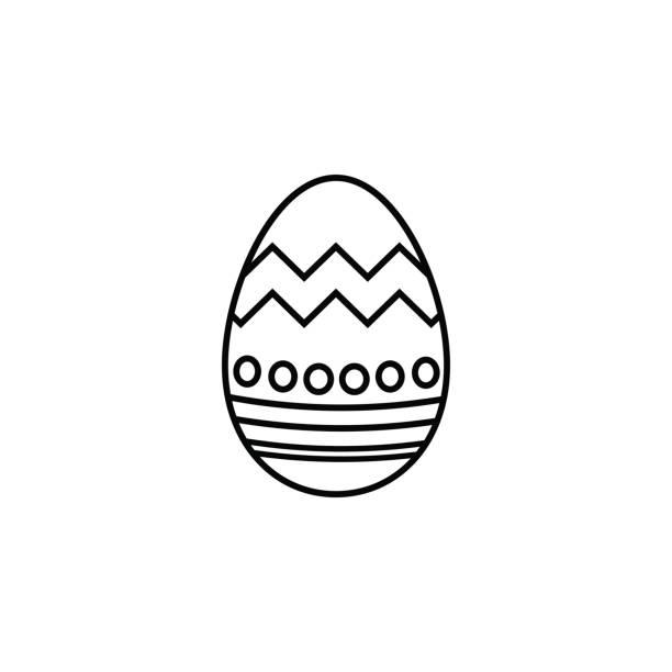 Icono de la línea de huevo de Pascua, elementos de vacaciones de religión - ilustración de arte vectorial