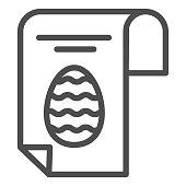 Easter egg poster line icon. Happy Easter greeting card with eggs and text outline style pictogram on white background. Happy spring holiday signs for mobile concept and web design. Vector graphics