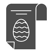 Easter egg poster solid icon. Happy Easter greeting card with eggs and text glyph style pictogram on white background. Happy spring holiday signs for mobile concept and web design. Vector graphics