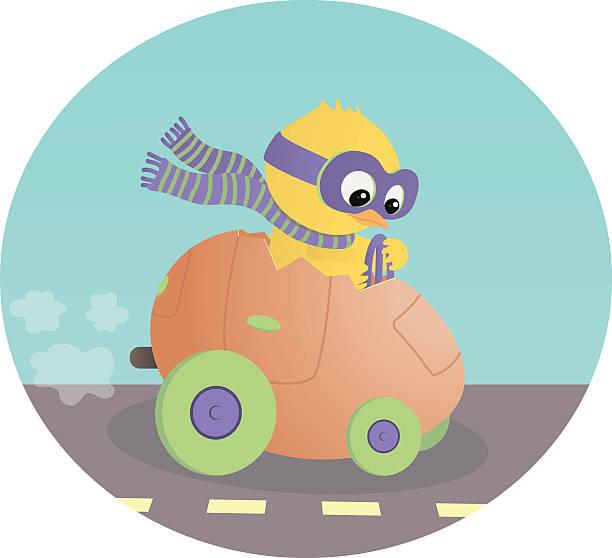 pisanka biegi wóz z mały chick jazdy - ruth stock illustrations