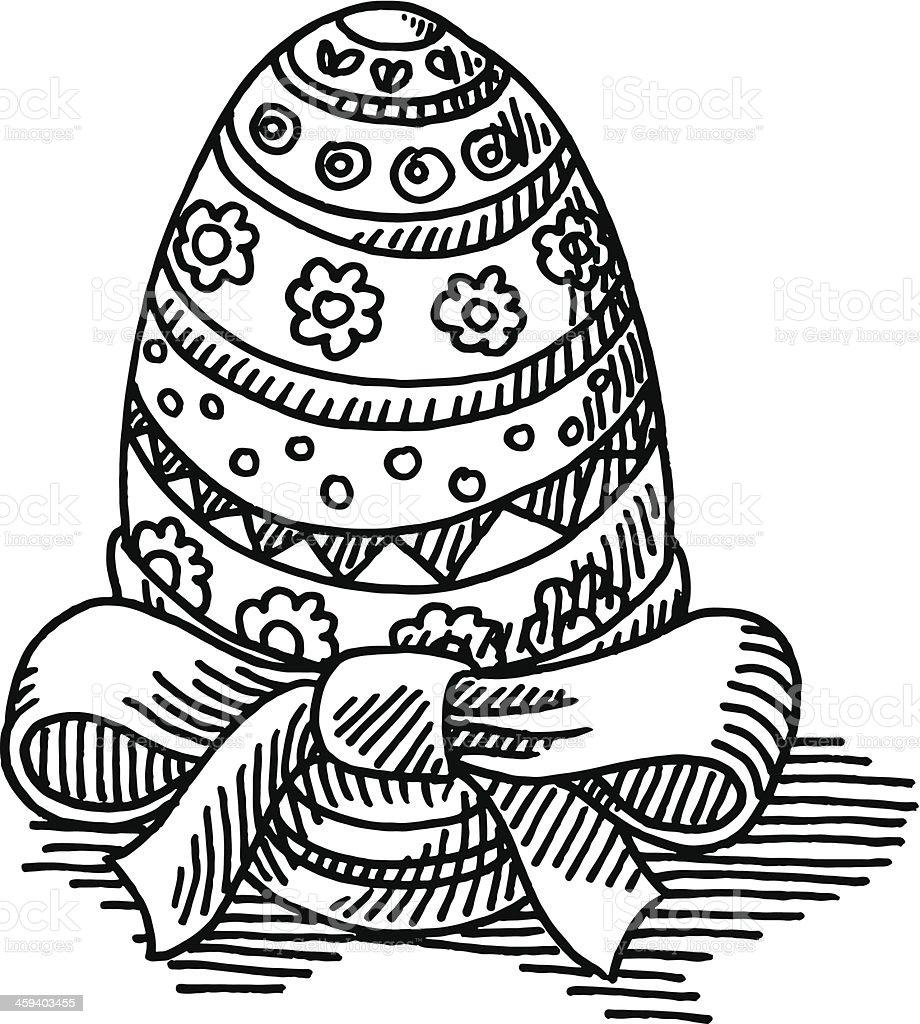 Easter Egg Ribbon Drawing Royalty Free Stock Vector Art