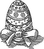 Hand-drawn vector drawing of a Easter Egg with a Ribbon. Black-and-White sketch on a transparent background (.eps-file). Included files are EPS (v10) and Hi-Res JPG.