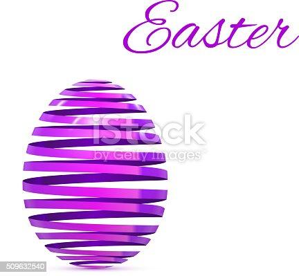 Easter Egg Ribbon Isolated on white Vector Illustration