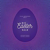 Easter egg square banner. Easter big sale card with big outline egg on purple modern background. Vector illustration. Place for your text