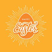 Happy Easter Typographical Background with egg and shine. Handwritten lettering for Poster or Greeting Card. Vector illustration.