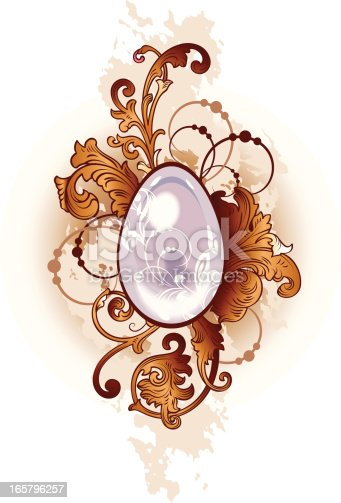 Illustration with old-fashioned decoration. Easter Egg.