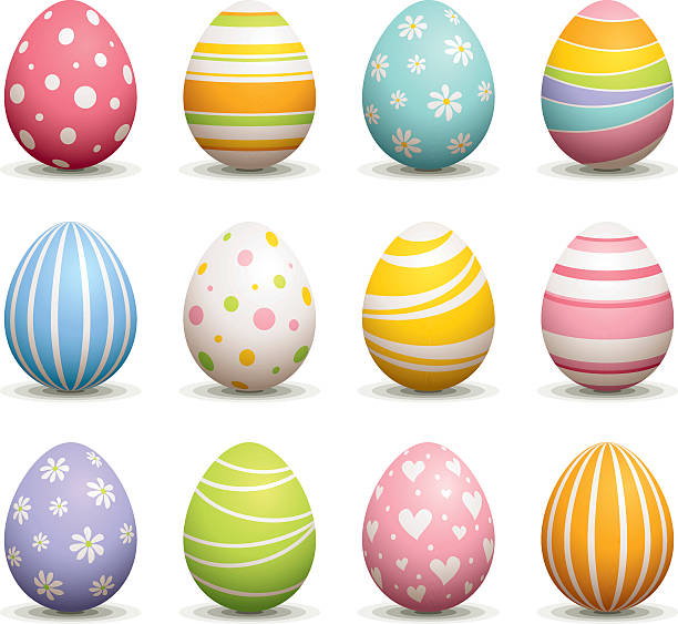 Easter Egg - 2 or more color gradient used(linear/radial) egg stock illustrations