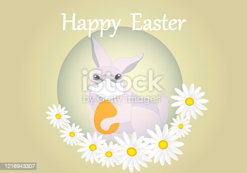 istock Easter egg with  bunny and protective medical face mask. 1216943307