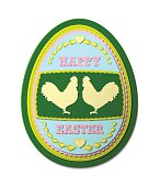 Easter egg, with floral motives and shape of two roosters, vector illustration, eps 10 with transparency