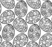 Easter background eggs with beautiful flowers. Holiday coloring page, seamless pattern. Vector illustration.