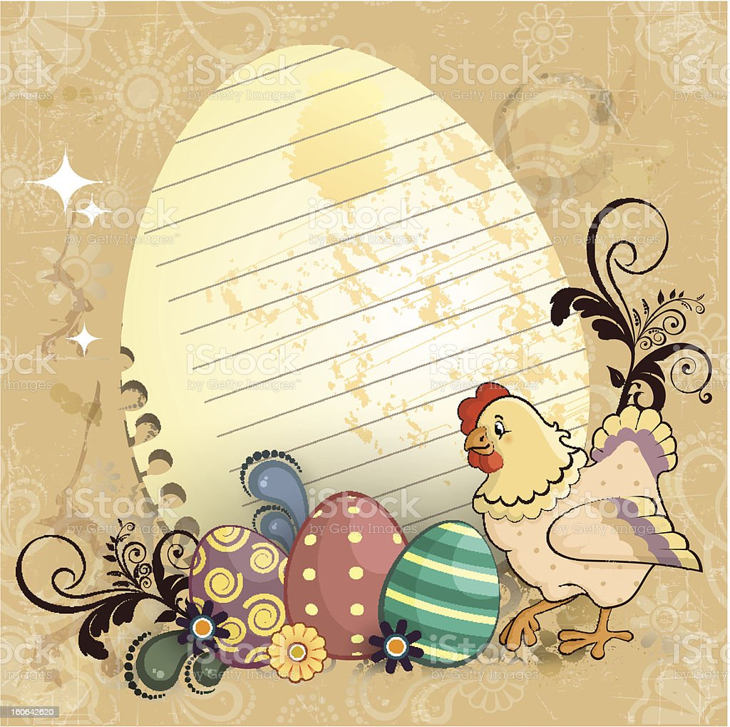 Easter eggs and chicken royalty-free stock vector art