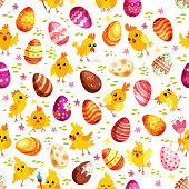 Easter eggs and chickens seamless pattern. Holiday vintage background with cartoon Easter symbol. Vector illustration. Different eggs in flat style