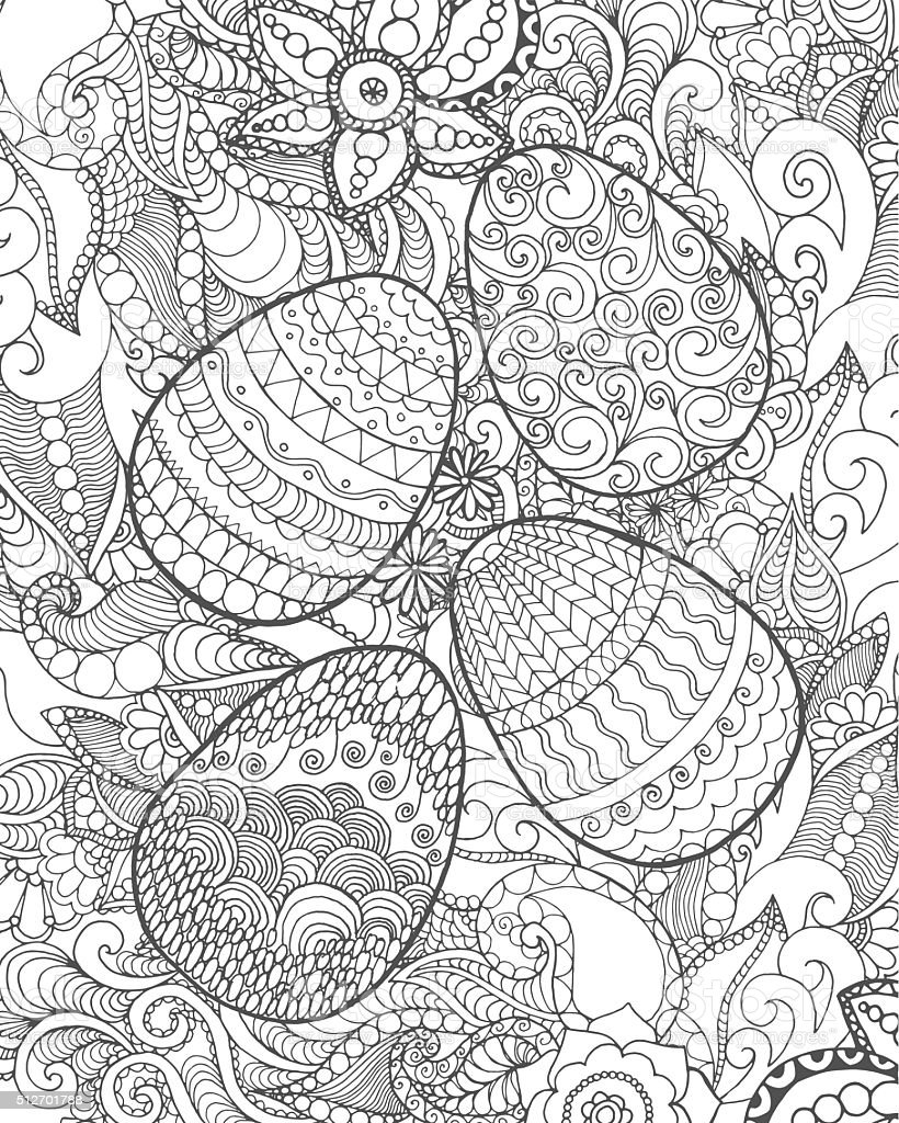 easter eggs and flowers coloring page stock vector art 512701788