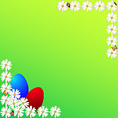 Easter Eggs Background Green Color Frame Poster Placard Greeting Card Postcard Sign