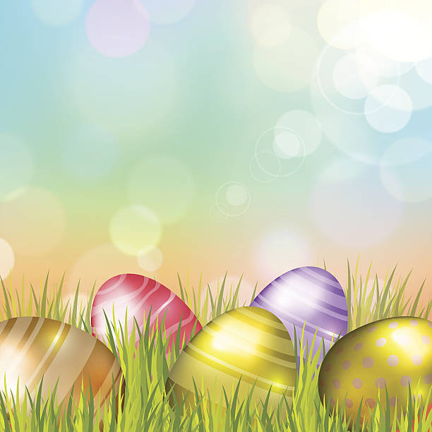 Easter Eggs Background vector art illustration
