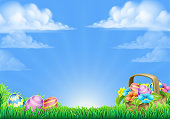 An Easter eggs basket design field scene background