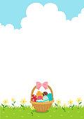 Easter,holiday,event,egg,basket,grass,sky,nature,flower,season,background,illustration,greeting card